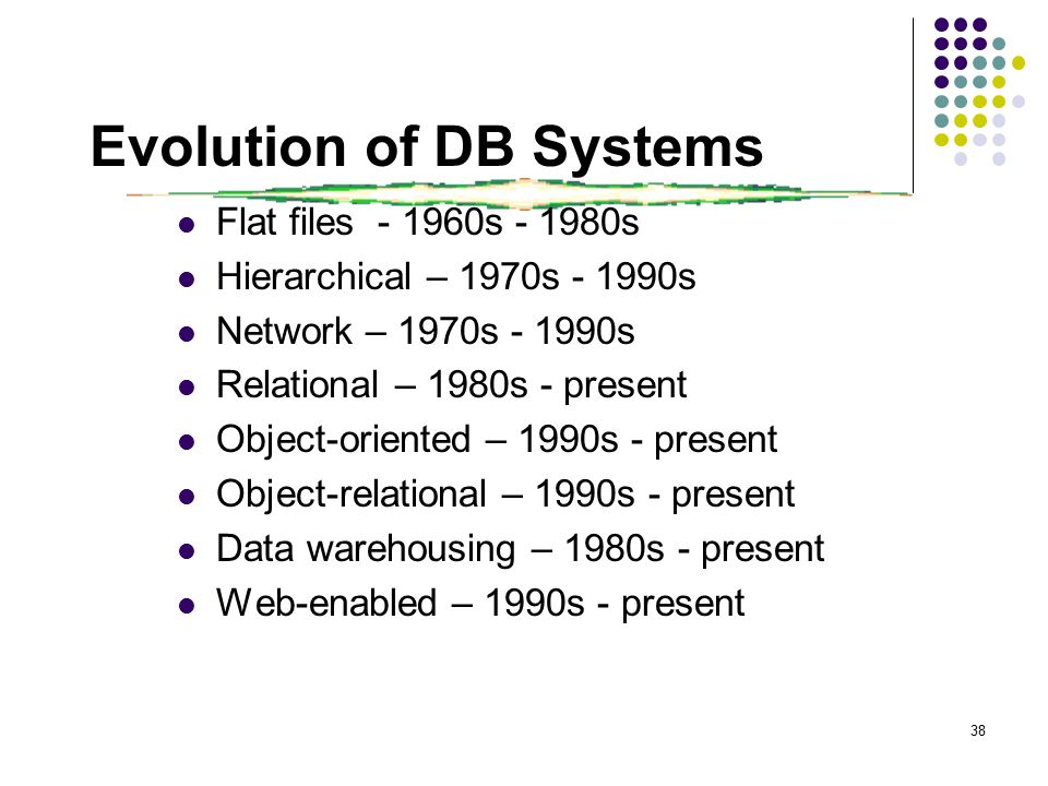 38 Evolution of DB Systems Flat files - 1960s - 1980s Hierarchical – 1970s - 1990s Network – 1970s - 1990s Relational – 1980s - present Object-oriented – 1990s - present Object-relational – 1990s - present Data warehousing – 1980s - present Web-enabled – 1990s - present