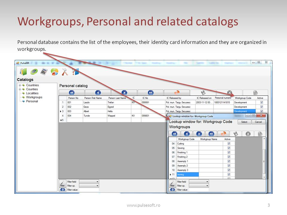 Workgroups, Personal and related catalogs Personal database contains the list of the employees, their identity card information and they are organized in workgroups.