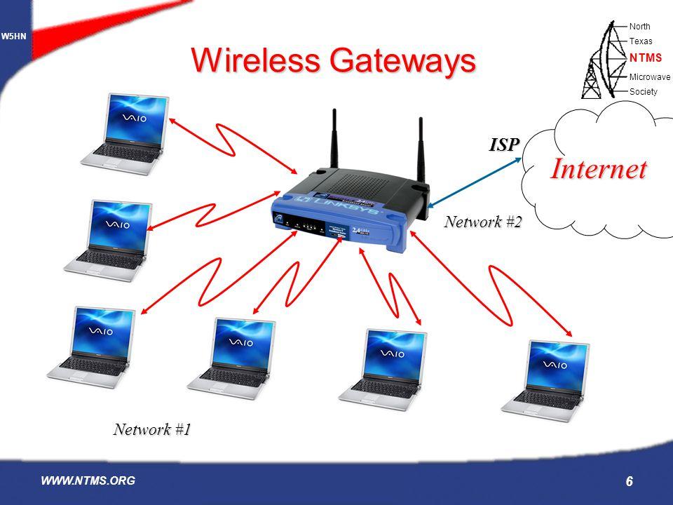 W5HN North Texas Microwave Society NTMS WWW.NTMS.ORG 6 Wireless Gateways Internet ISP Network #1 Network #2