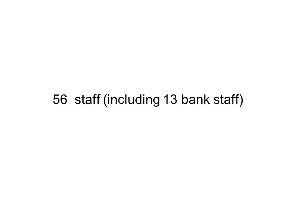 56 staff (including 13 bank staff)