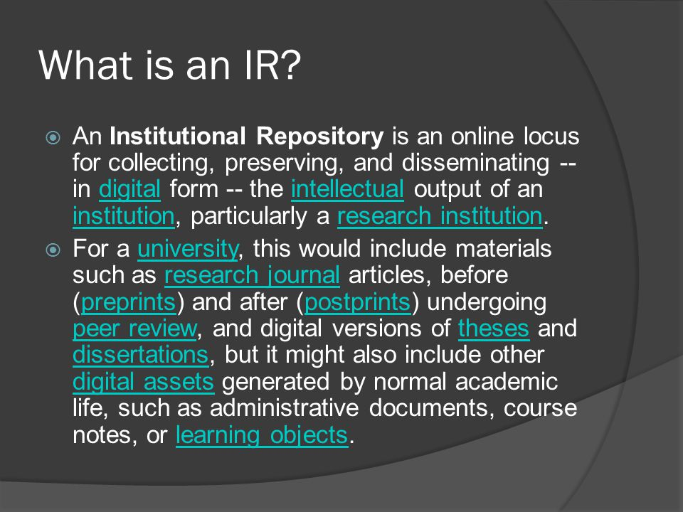 What is an IR.
