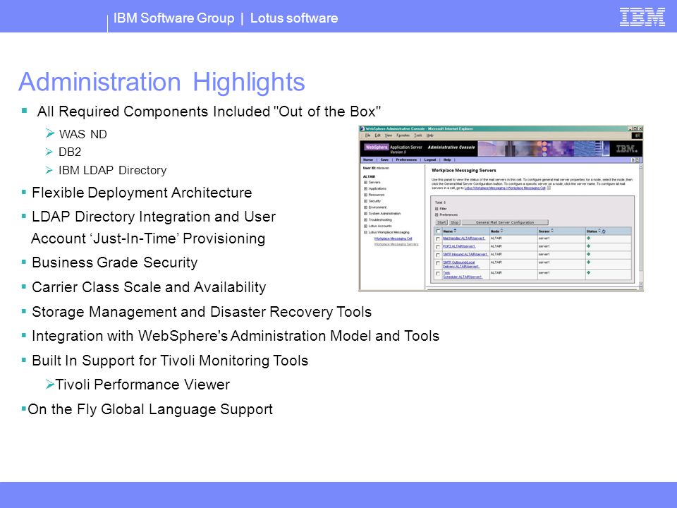 IBM Software Group | Lotus software  All Required Components Included Out of the Box  WAS ND  DB2  IBM LDAP Directory  Flexible Deployment Architecture  LDAP Directory Integration and User Account 'Just-In-Time' Provisioning  Business Grade Security  Carrier Class Scale and Availability  Storage Management and Disaster Recovery Tools  Integration with WebSphere s Administration Model and Tools  Built In Support for Tivoli Monitoring Tools  Tivoli Performance Viewer  On the Fly Global Language Support Administration Highlights