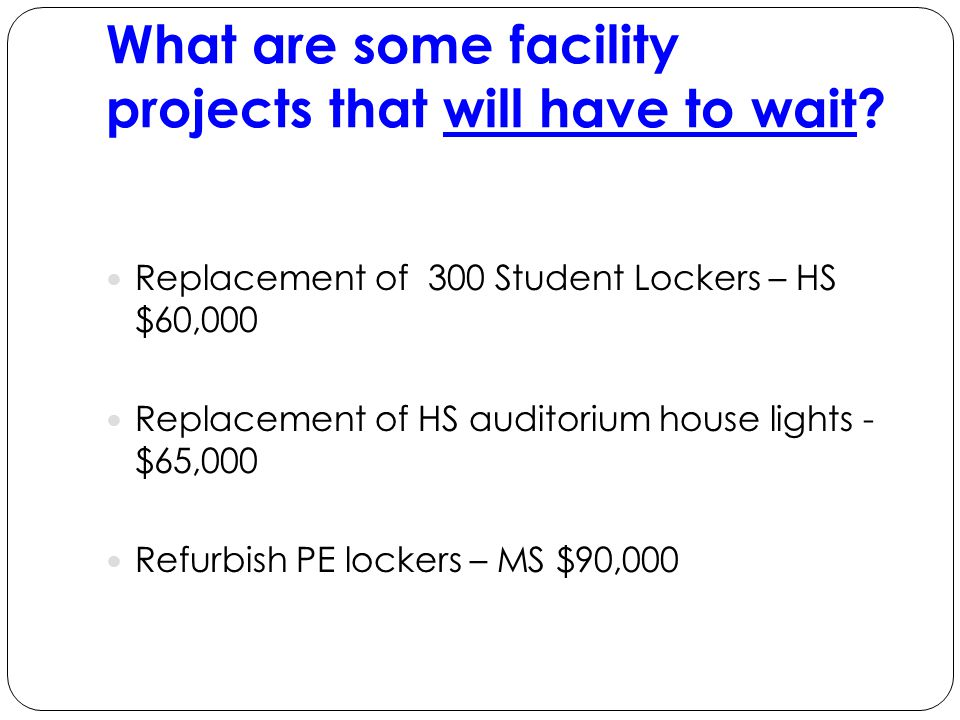 What are some facility projects that will have to wait.