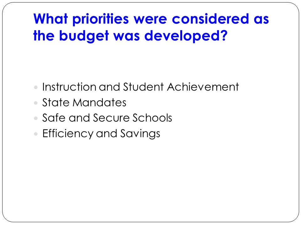 What priorities were considered as the budget was developed.