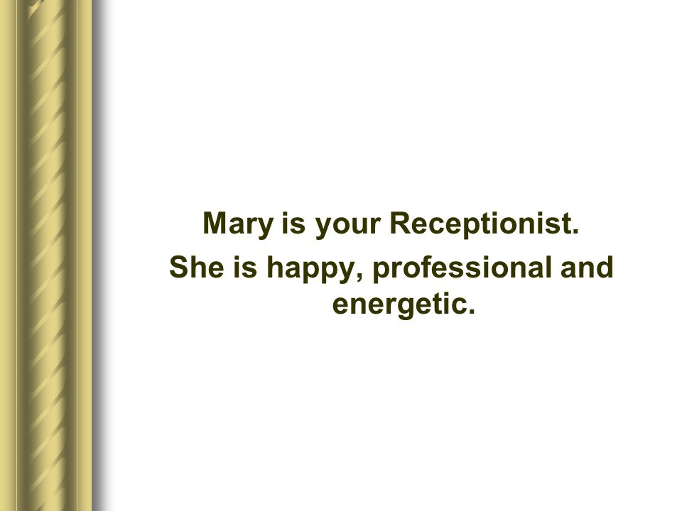 Mary is your Receptionist. She is happy, professional and energetic.