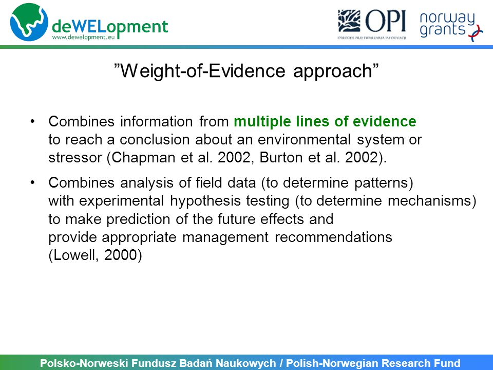 Polsko-Norweski Fundusz Badań Naukowych / Polish-Norwegian Research Fund Weight-of-Evidence approach Combines information from multiple lines of evidence to reach a conclusion about an environmental system or stressor (Chapman et al.