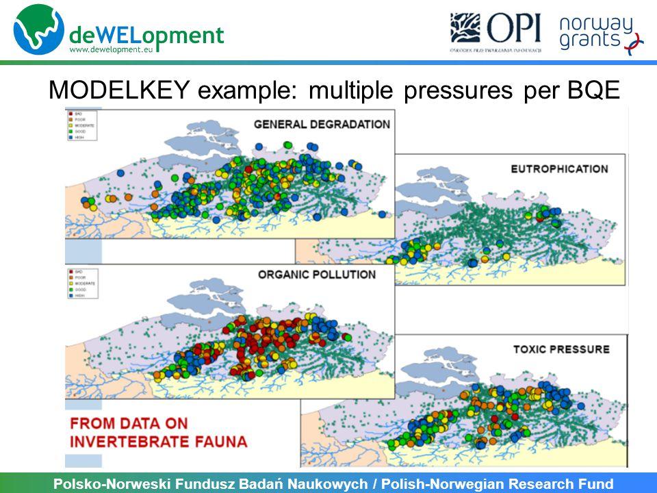 Polsko-Norweski Fundusz Badań Naukowych / Polish-Norwegian Research Fund MODELKEY example: multiple pressures per BQE