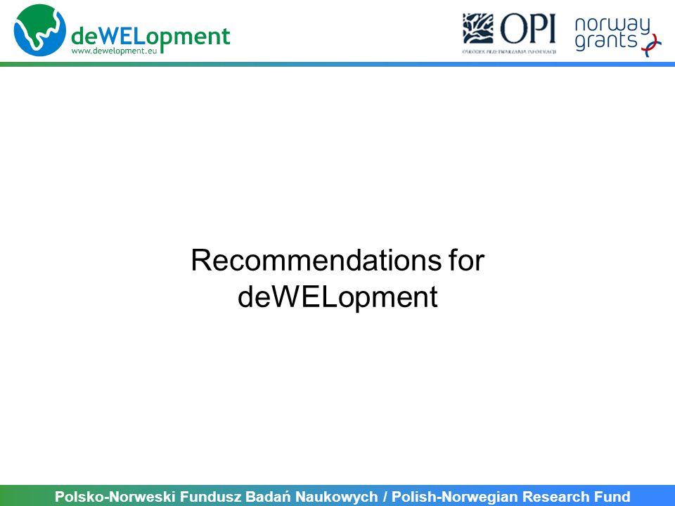 Polsko-Norweski Fundusz Badań Naukowych / Polish-Norwegian Research Fund Recommendations for deWELopment