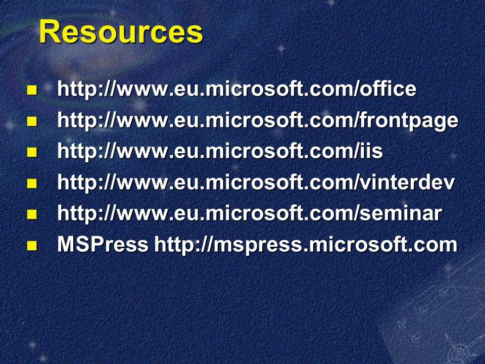 Resources http://www.eu.microsoft.com/office http://www.eu.microsoft.com/office http://www.eu.microsoft.com/frontpage http://www.eu.microsoft.com/frontpage http://www.eu.microsoft.com/iis http://www.eu.microsoft.com/iis http://www.eu.microsoft.com/vinterdev http://www.eu.microsoft.com/vinterdev http://www.eu.microsoft.com/seminar http://www.eu.microsoft.com/seminar MSPress http://mspress.microsoft.com MSPress http://mspress.microsoft.com