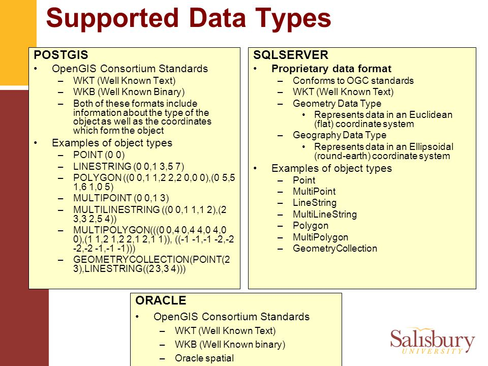 © Salisbury University Supported Data Types POSTGIS OpenGIS Consortium Standards –WKT (Well Known Text) –WKB (Well Known Binary) –Both of these formats include information about the type of the object as well as the coordinates which form the object Examples of object types –POINT (0 0) –LINESTRING (0 0,1 3,5 7) –POLYGON ((0 0,1 1,2 2,2 0,0 0),(0 5,5 1,6 1,0 5) –MULTIPOINT (0 0,1 3) –MULTILINESTRING ((0 0,1 1,1 2),(2 3,3 2,5 4)) –MULTIPOLYGON(((0 0,4 0,4 4,0 4,0 0),(1 1,2 1,2 2,1 2,1 1)), ((-1 -1,-1 -2,-2 -2,-2 -1,-1 -1))) –GEOMETRYCOLLECTION(POINT(2 3),LINESTRING((2 3,3 4))) SQLSERVER Proprietary data format –Conforms to OGC standards –WKT (Well Known Text) –Geometry Data Type Represents data in an Euclidean (flat) coordinate system –Geography Data Type Represents data in an Ellipsoidal (round-earth) coordinate system Examples of object types –Point –MultiPoint –LineString –MultiLineString –Polygon –MultiPolygon –GeometryCollection ORACLE OpenGIS Consortium Standards –WKT (Well Known Text) –WKB (Well Known binary) –Oracle spatial