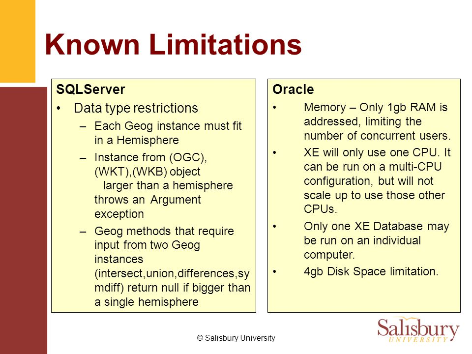 © Salisbury University Known Limitations SQLServer Data type restrictions –Each Geog instance must fit in a Hemisphere –Instance from (OGC), (WKT),(WKB) object larger than a hemisphere throws an Argument exception –Geog methods that require input from two Geog instances (intersect,union,differences,sy mdiff) return null if bigger than a single hemisphere Oracle Memory – Only 1gb RAM is addressed, limiting the number of concurrent users.