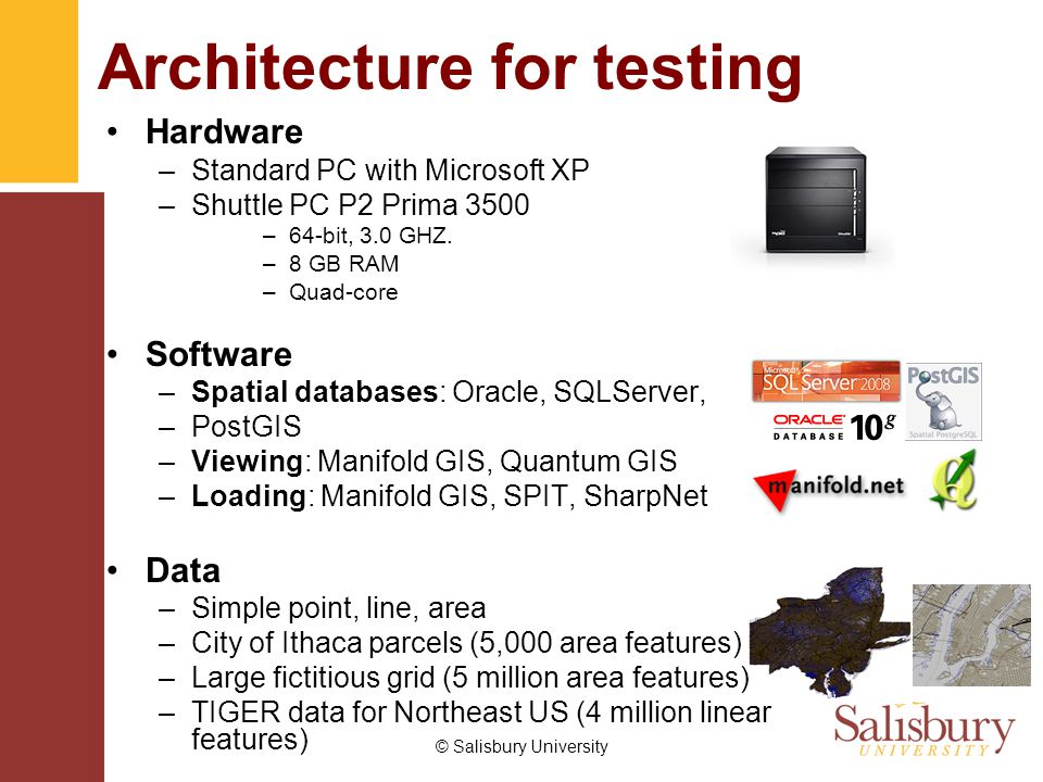 © Salisbury University Architecture for testing Hardware –Standard PC with Microsoft XP –Shuttle PC P2 Prima 3500 –64-bit, 3.0 GHZ.