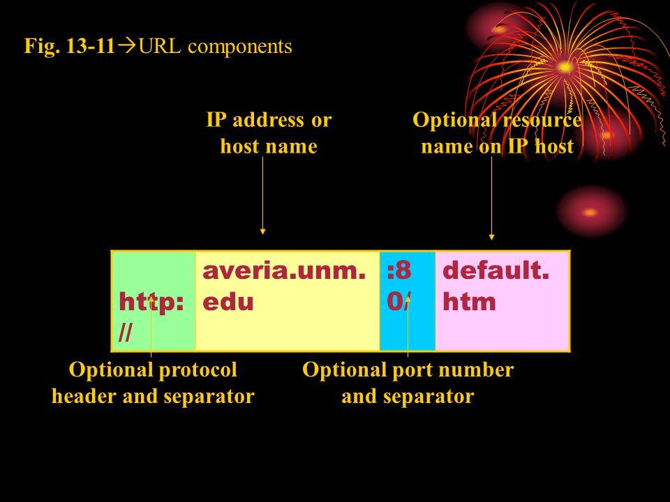 http: // averia.unm. edu :8 0/ default. htm Fig. 13-11  URL components Optional protocol header and separator Optional port number and separator IP a