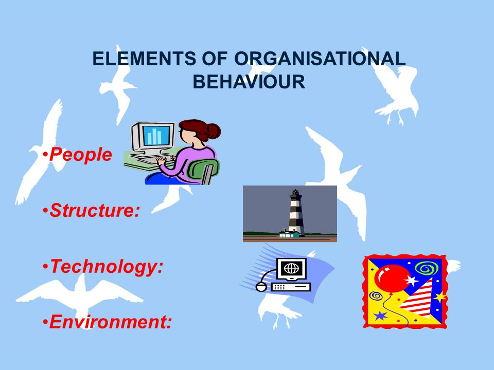ELEMENTS OF ORGANISATIONAL BEHAVIOUR People Structure: Technology: Environment: