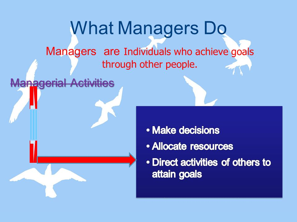 What Managers Do Managers are Individuals who achieve goals through other people. Managerial Activities
