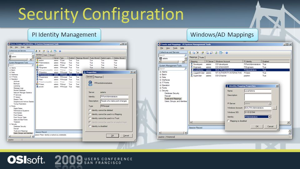 Security Configuration PI Identity Management Windows/AD Mappings