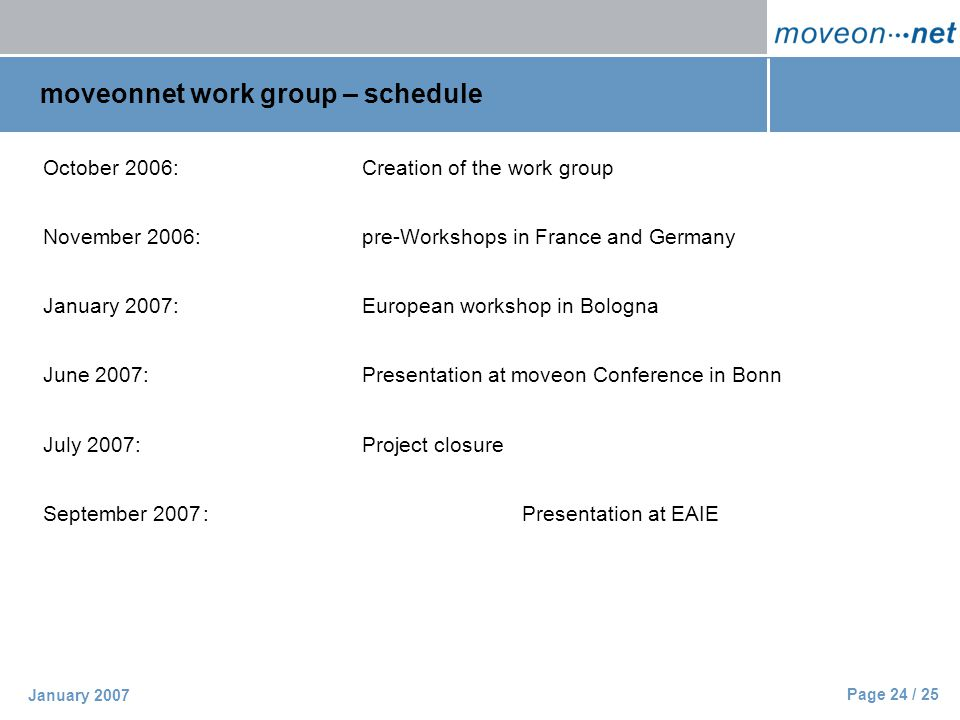 Page 24 / 25 January 2007 moveonnet work group – schedule October 2006:Creation of the work group November 2006:pre-Workshops in France and Germany January 2007:European workshop in Bologna June 2007:Presentation at moveon Conference in Bonn July 2007:Project closure September 2007:Presentation at EAIE