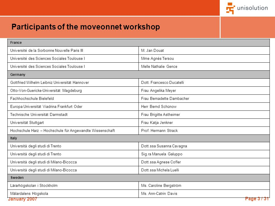 Page 3 / 31 January 2007 Participants of the moveonnet workshop France Université de la Sorbonne Nouvelle Paris IIIM.