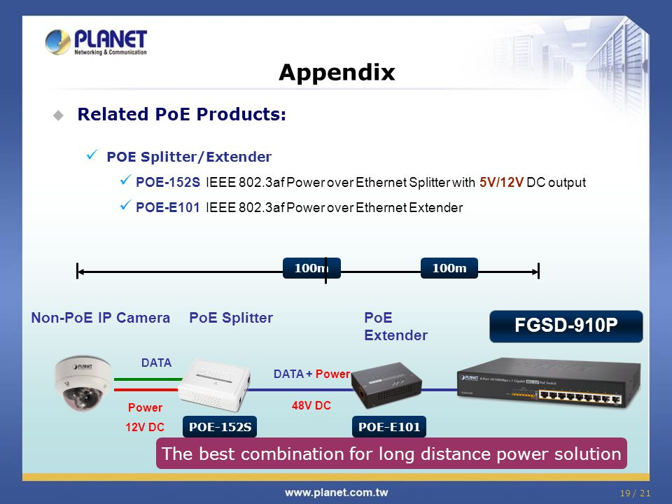 19 / 21 Appendix  Related PoE Products: POE Splitter/Extender POE-152S IEEE 802.3af Power over Ethernet Splitter with 5V/12V DC output POE-E101 IEEE