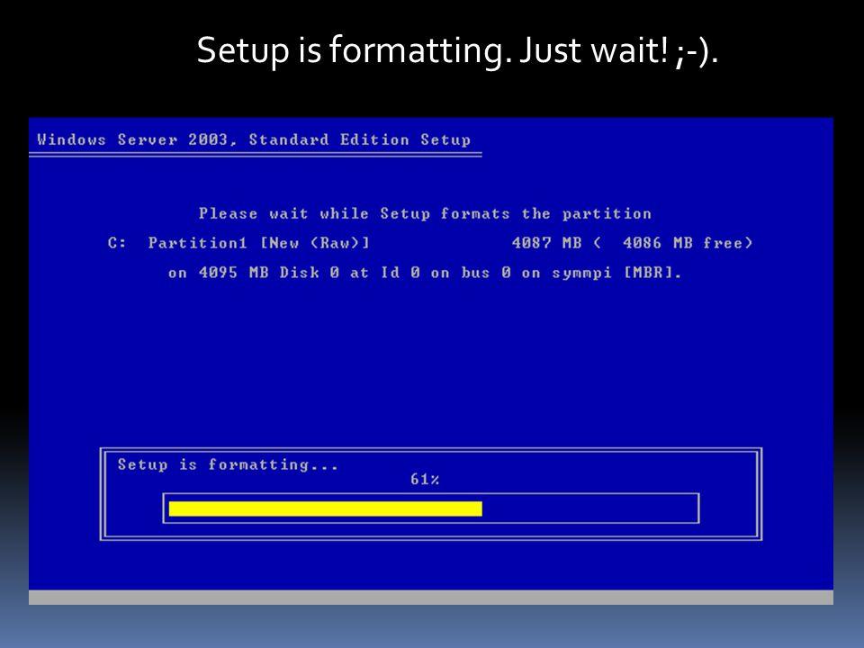 Setup is formatting. Just wait! ;-). Setup is formatting. Just wait! ;-).