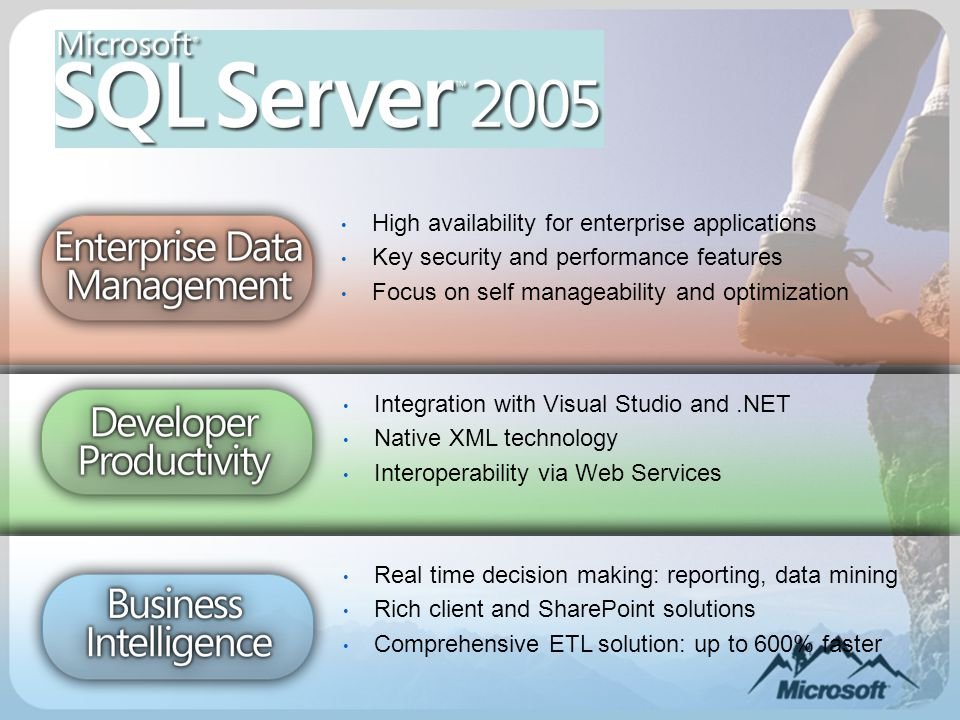 High availability for enterprise applications Key security and performance features Focus on self manageability and optimization Integration with Visual Studio and.NET Native XML technology Interoperability via Web Services Real time decision making: reporting, data mining Rich client and SharePoint solutions Comprehensive ETL solution: up to 600% faster