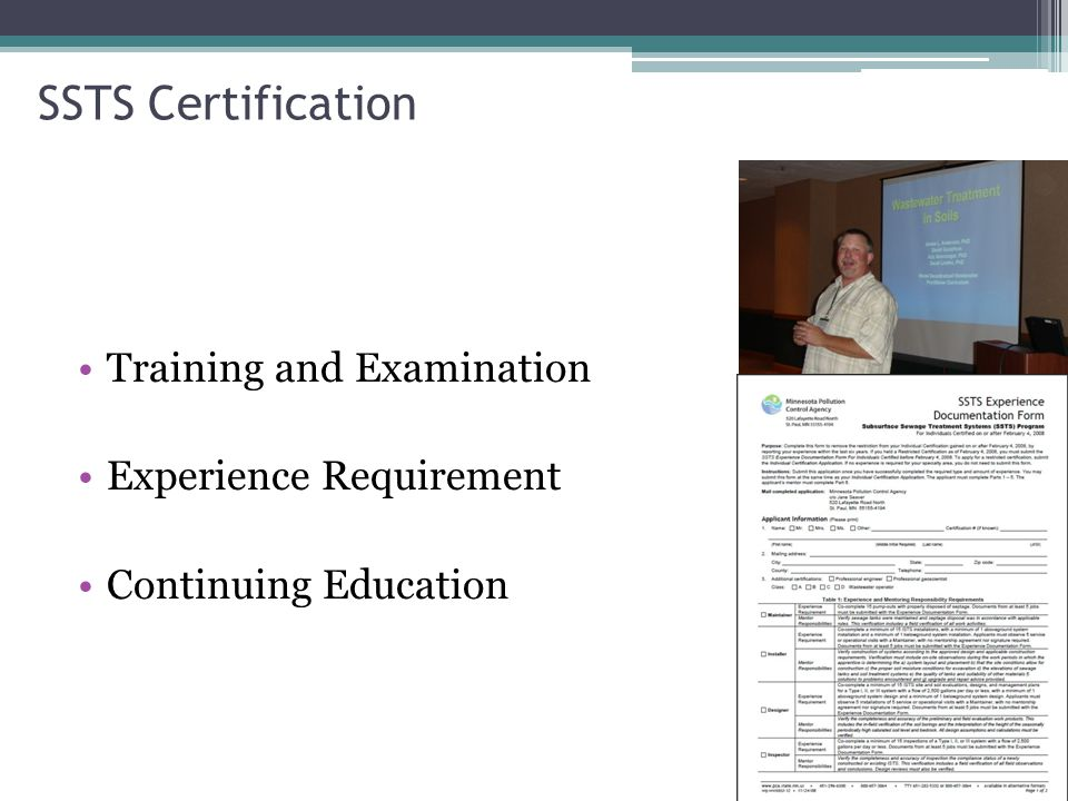 SSTS Certification Training and Examination Experience Requirement Continuing Education