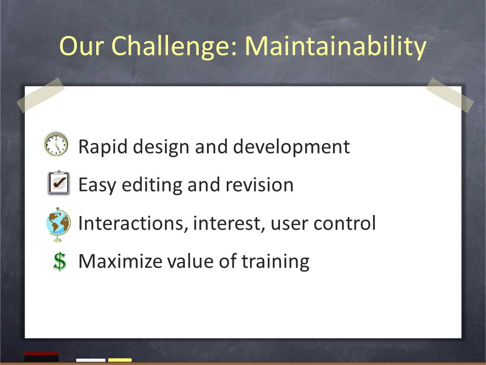 Our Challenge: Maintainability Rapid design and development Easy editing and revision Interactions, interest, user control Maximize value of training