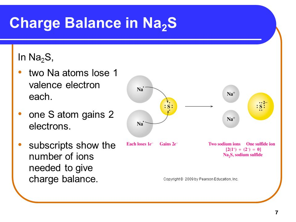 7 Charge Balance in Na 2 S In Na 2 S, two Na atoms lose 1 valence electron each.