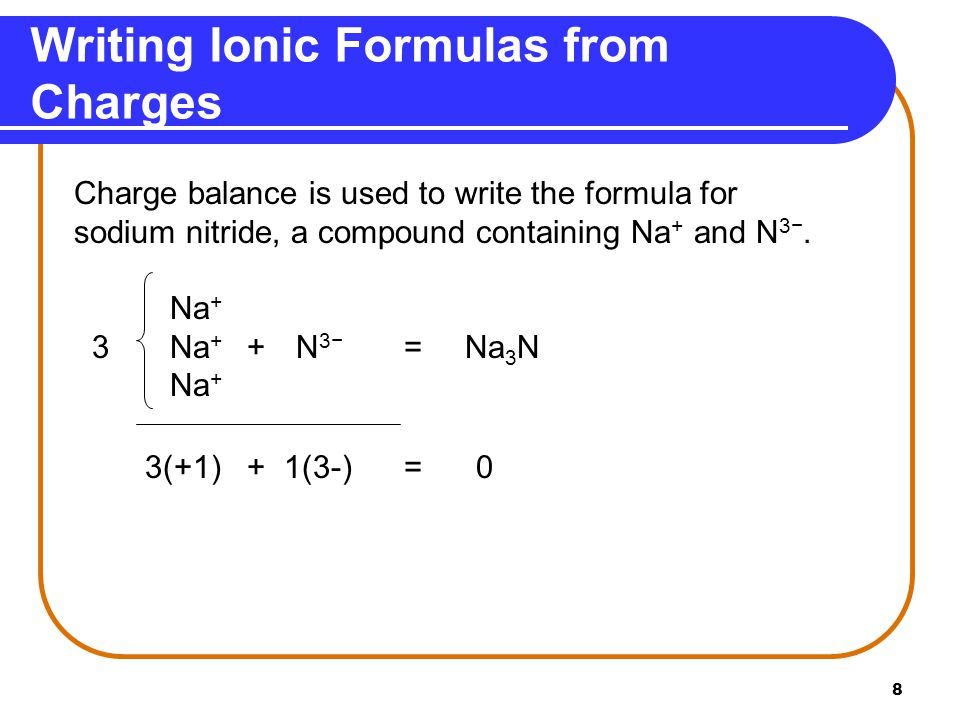 8 Writing Ionic Formulas from Charges Charge balance is used to write the formula for sodium nitride, a compound containing Na + and N 3−. Na + 3Na +