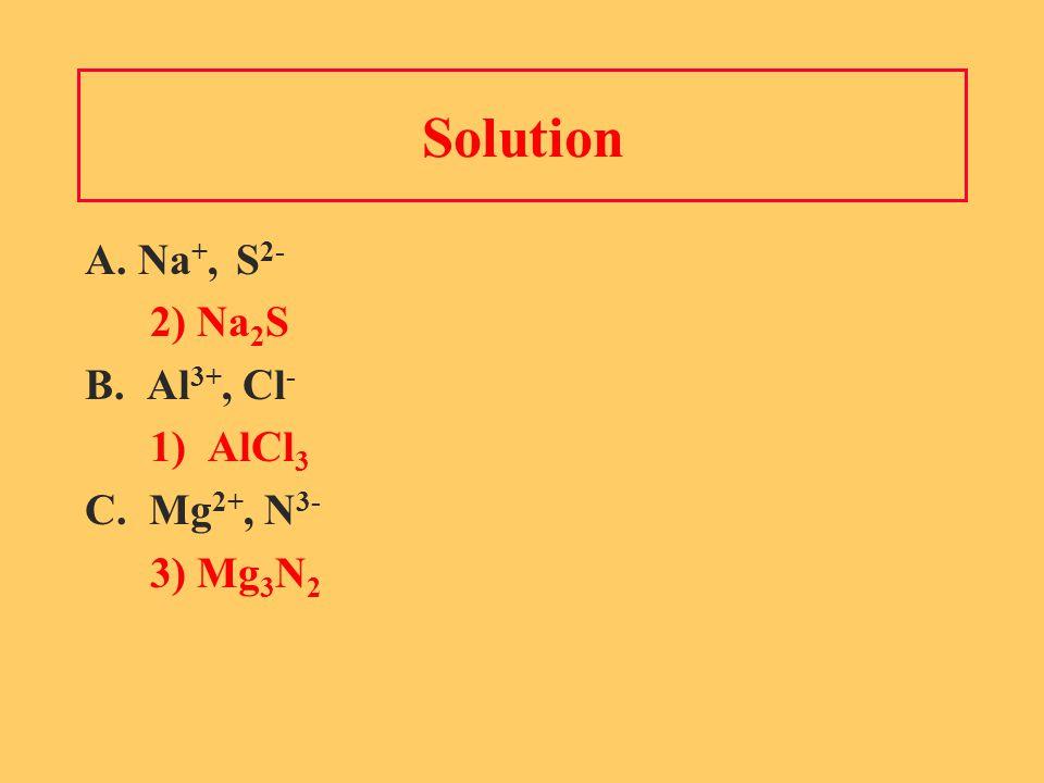 Solution A. Na +, S 2- 2) Na 2 S B. Al 3+, Cl - 1) AlCl 3 C. Mg 2+, N 3- 3) Mg 3 N 2