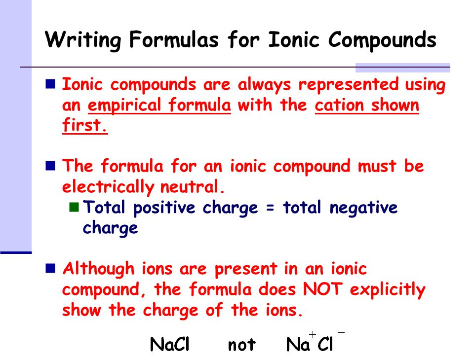 Writing Formulas for Ionic Compounds Ionic compounds are always represented using an empirical formula with the cation shown first.