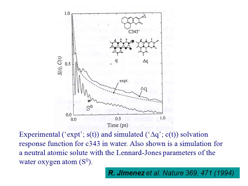 Experimental ('expt'; s(t)) and simulated ('  q'; c(t)) solvation response function for c343 in water.