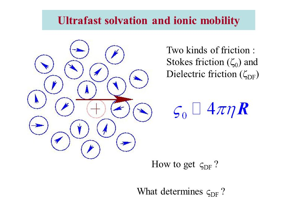 Ultrafast solvation and ionic mobility Two kinds of friction : Stokes friction (  0 ) and Dielectric friction (  DF ) How to get  DF .