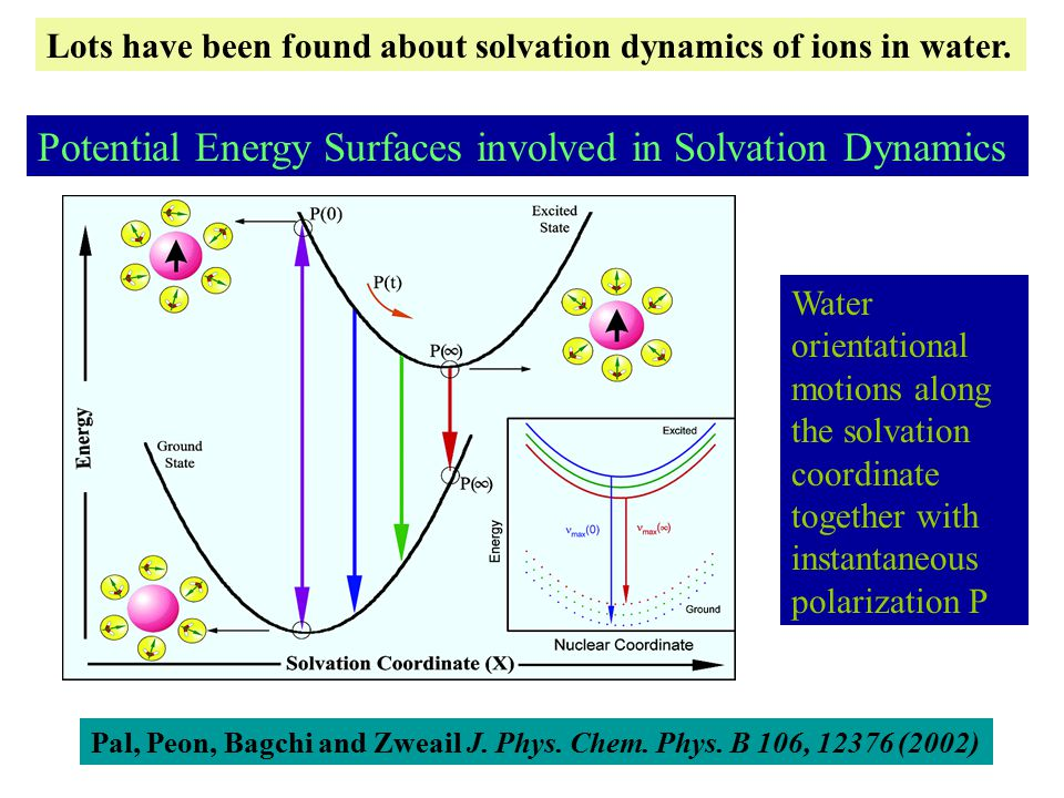 Potential Energy Surfaces involved in Solvation Dynamics Water orientational motions along the solvation coordinate together with instantaneous polarization P Pal, Peon, Bagchi and Zweail J.