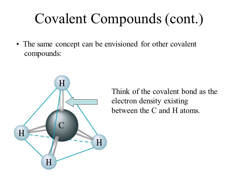 Covalent Compounds (cont.) The same concept can be envisioned for other covalent compounds: Think of the covalent bond as the electron density existing between the C and H atoms.