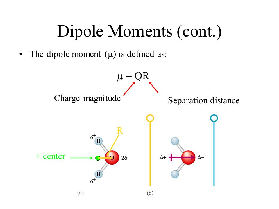 Dipole Moments (cont.) The dipole moment (  ) is defined as:  = QR Charge magnitude Separation distance + center R
