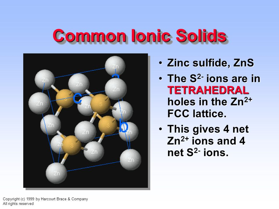 Copyright (c) 1999 by Harcourt Brace & Company All rights reserved Common Ionic Solids Zinc sulfide, ZnSZinc sulfide, ZnS The S 2- ions are in TETRAHE