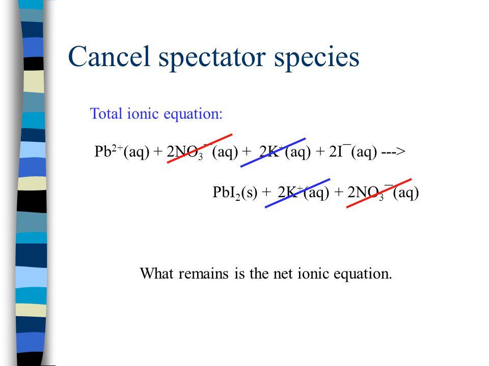 Net ionic equation Pb 2+ (aq) + 2I¯(aq) ---> PbI 2 (s)
