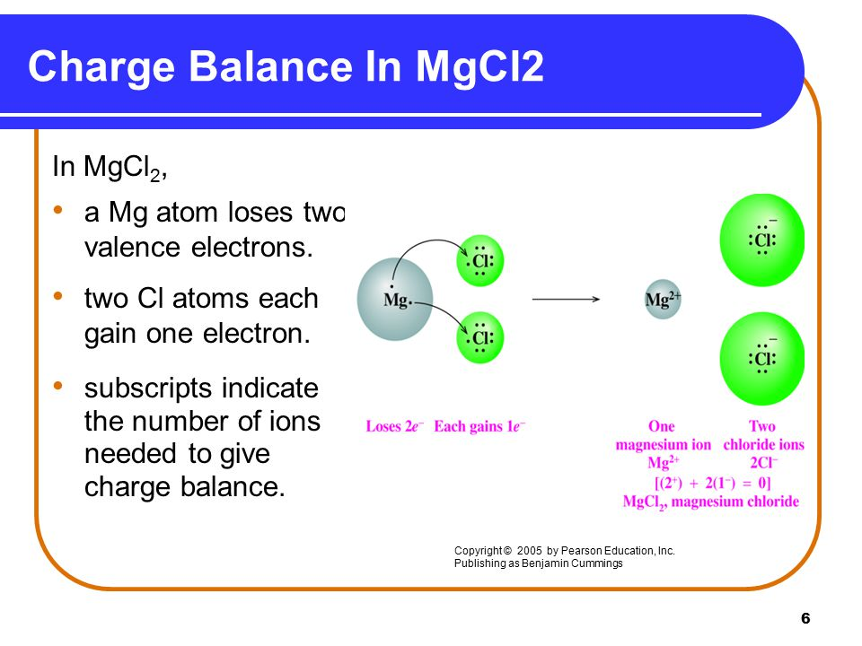 6 Charge Balance In MgCl2 In MgCl 2, a Mg atom loses two valence electrons.