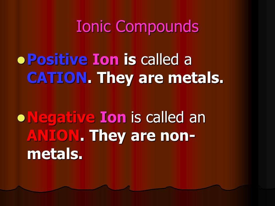 Ionic Compounds Positive Ion is called a CATION. They are metals. Positive Ion is called a CATION. They are metals. Negative Ion is called an ANION. T