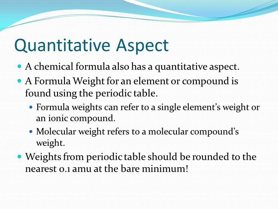 Quantitative Aspect A chemical formula also has a quantitative aspect.