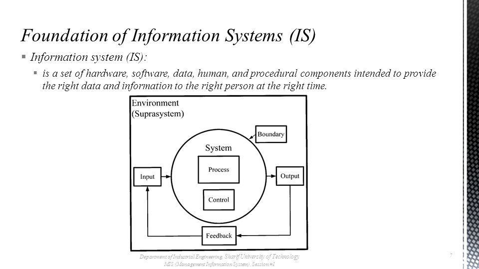  Information system (IS):  Of the most important role of the Information systems is to provide information for management  This management enables decision making process which ensure that the organization is controlled  The organization will be in control if it is meeting the needs of the environment Department of Industrial Engineering, Sharif University of Technology MIS (Management Information System), Session #1 8