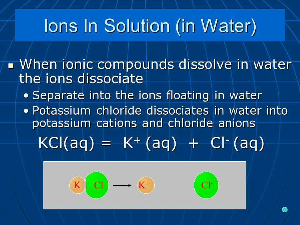 Ions In Solution (in Water) When ionic compounds dissolve in water the ions dissociate When ionic compounds dissolve in water the ions dissociate Separate into the ions floating in waterSeparate into the ions floating in water Potassium chloride dissociates in water into potassium cations and chloride anionsPotassium chloride dissociates in water into potassium cations and chloride anions KCl(aq) = K + (aq) + Cl - (aq) K+K+ Cl - K Cl