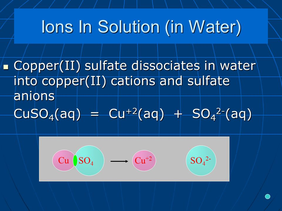 Ions In Solution (in Water) Copper(II) sulfate dissociates in water into copper(II) cations and sulfate anions Copper(II) sulfate dissociates in water into copper(II) cations and sulfate anions CuSO 4 (aq) = Cu +2 (aq) + SO 4 2- (aq) Cu +2 SO 4 2- Cu SO 4