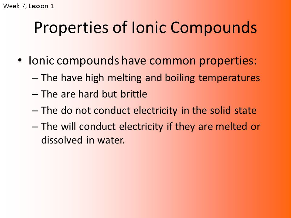 Uses cont… Many ionic compounds dissolve in water.