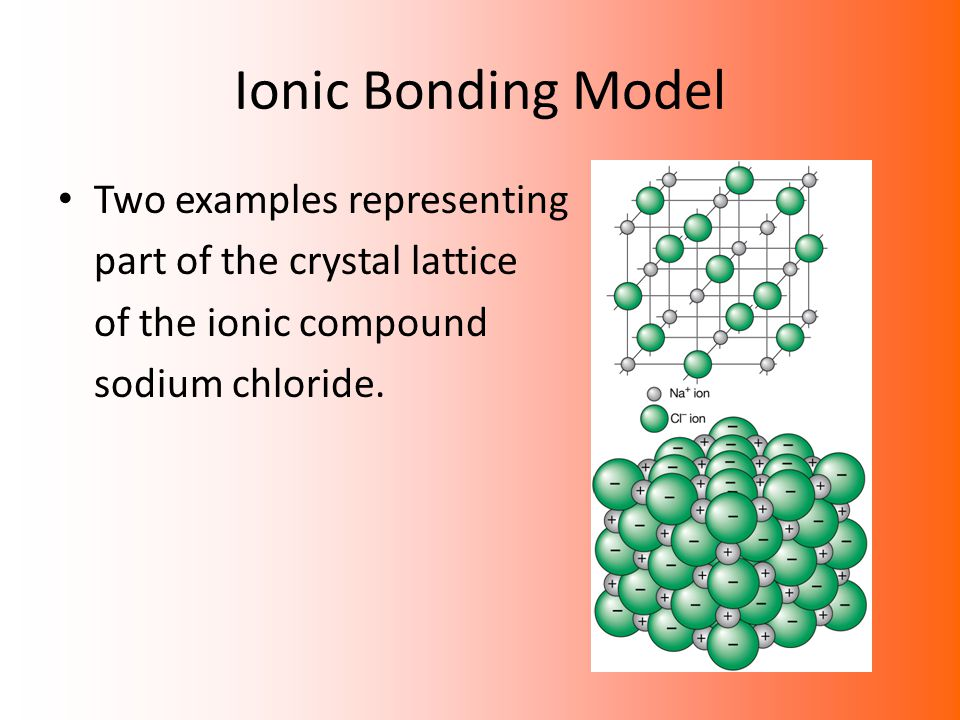 Ionic Bonding Model Two examples representing part of the crystal lattice of the ionic compound sodium chloride.