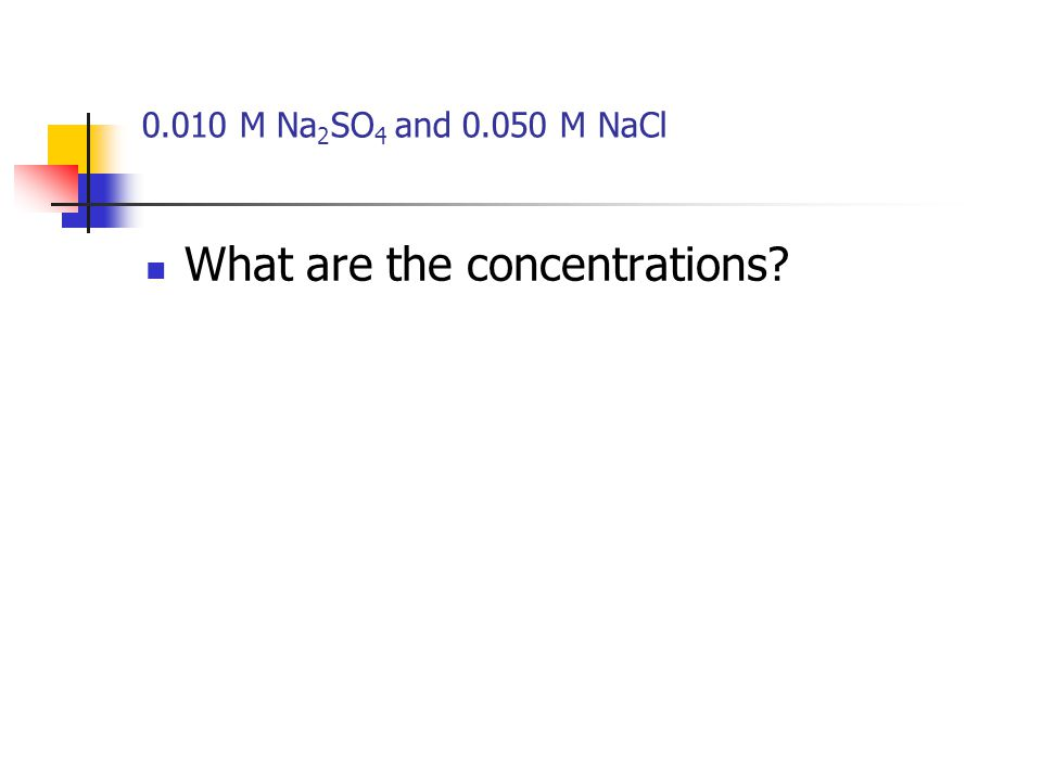 0.010 M Na 2 SO 4 and 0.050 M NaCl What are the concentrations