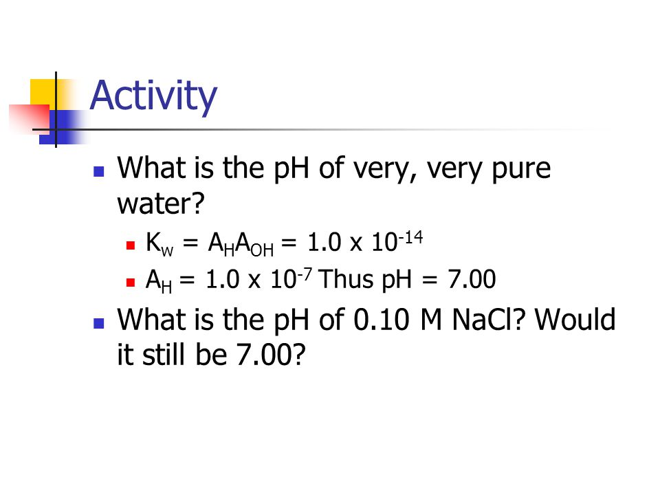 Activity What is the pH of very, very pure water.