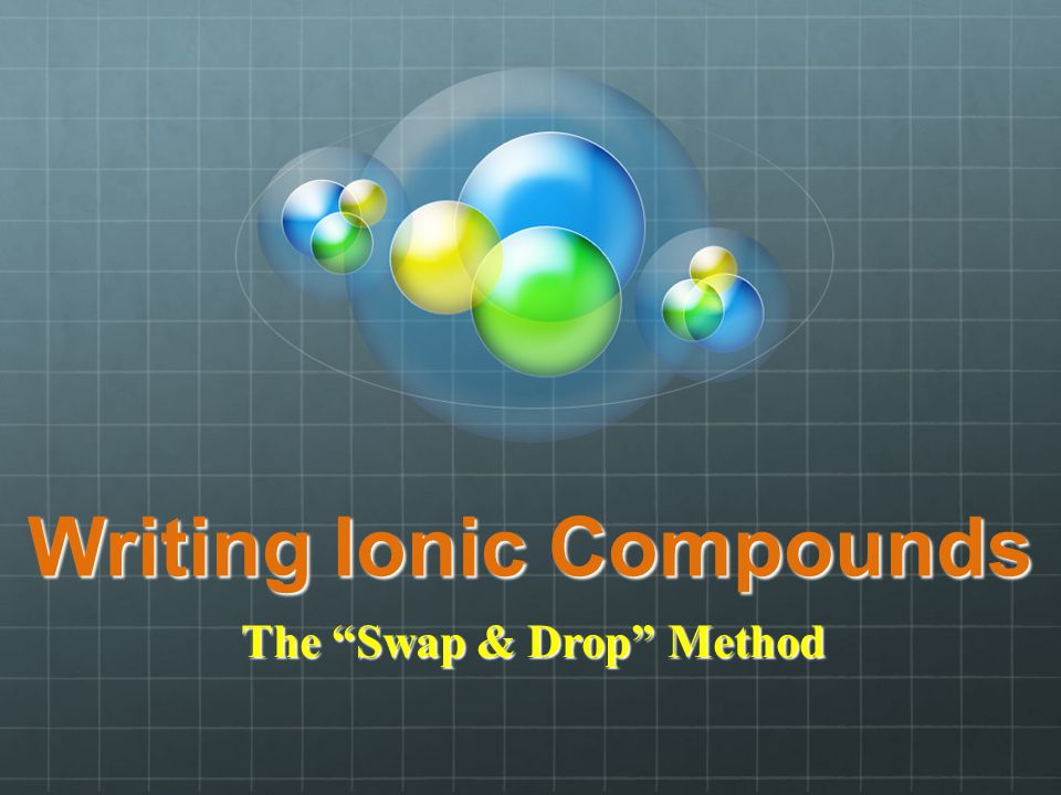 Writing Ionic Compounds The Swap & Drop Method