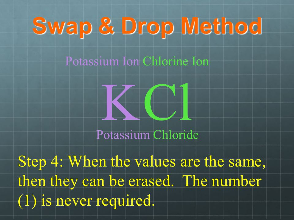 Swap & Drop Method Potassium Ion K Chlorine Ion Cl Step 4: When the values are the same, then they can be erased.